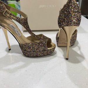 Jimmy choo corse glitter open toe heels